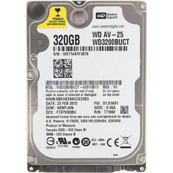 "Накопитель HDD 2.5"" SATA 320GB WD AV-25 5400rpm 16MB (WD3200BUCT) гар."