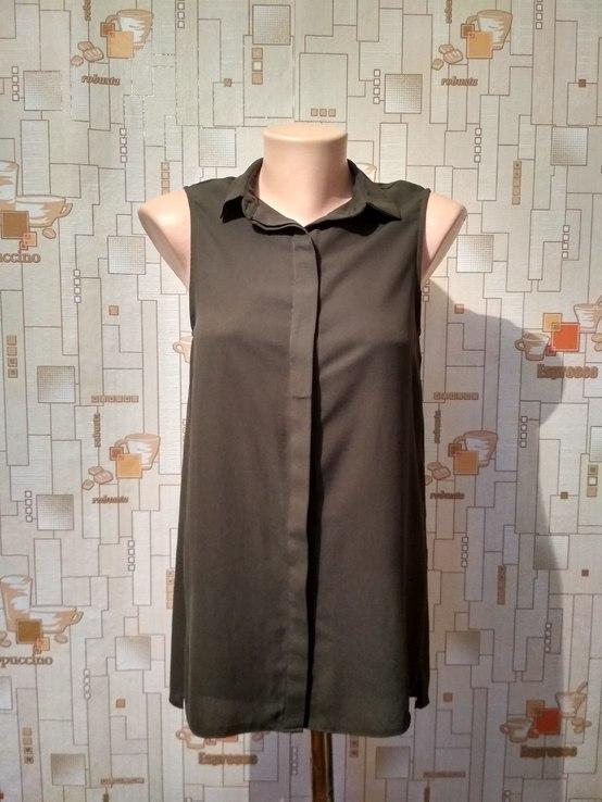 Блуза NEW LOOK, шифон, хаки, р-р 8 (36 евро)