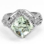 Кольцо 925 природный зеленый аметист, цирконий.