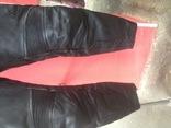 Кожаные байкирские штаны размер 36 photo 8