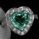 Кольцо 925 натуральный ААА зеленый турмалин, белый сапфир.