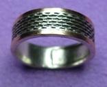 Кольцо обручальное мужское (серебро 925, полоски золото, размер 21.5, вес 6.50г)