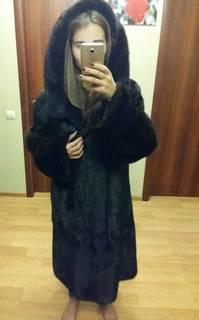 Шуба норковая темно-коричневая б.у. Киев длинная с капюшоном