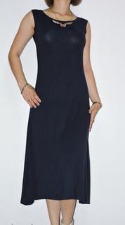 Классическое темно-синее платье французский трикотаж рр М