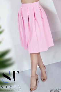 Женская юбка, розовая, со складками, размер 46