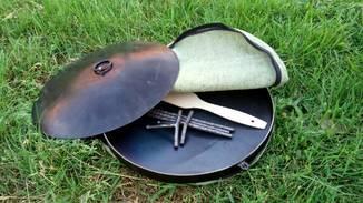 Сковорода из диска бороны диаметром 50см С Крышкой и чехлом