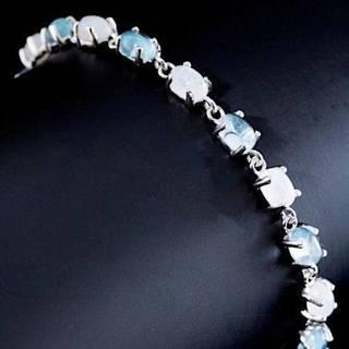 Браслет серебряный 925 натуральный лунный камень, голубой топаз.
