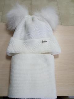 Набір шапка+шарф (білий)