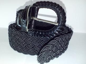 Ремень плетеный текстильный черный