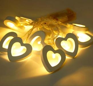 Гирлянда светодиодная. Сердце. На батарейках, переносная