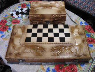Шахматы,шашки,нарды с ларцом.Феникс