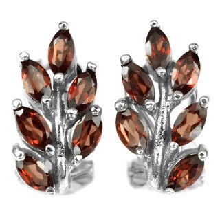 Серьги серебряные 925 натуральный ААА красно- оранжевый гранат.
