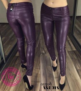 Кожаные штаны бордо размер M (40)