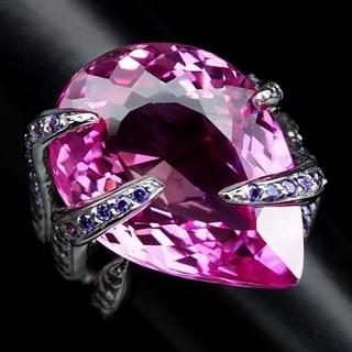 Кольцо серебряное 925 натуральный платиновыйрозовый топаз, пурпурный аметист.