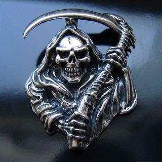 Крупный Байкерский подвес (Смерть с косой) Серебро 925
