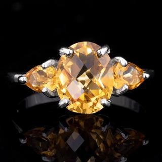 Кольцо серебряное 925 натуральный цитрин.