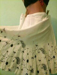Белая юбка из хлопка, с подъюбником, пайетки, р.L