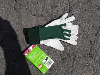 Перчатки садовые  кожа+ткань