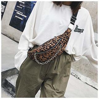 Бананка женская сумка на пояс через плечо поясная кросс-боди леопард с цепью.