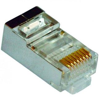 Коннектор витая пара RJ45 8P8C kat 5E экранированный Atcom в металлической пластине