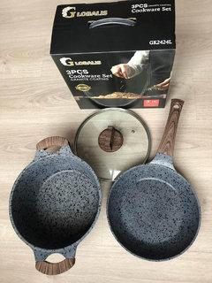Набор посуды кастрюля и сковорода мрамор 3 предмета