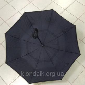 Черный зонт-трость Up-Brella, антидождь, зонт наоборот с двойным куполом., фото №11