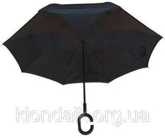 Черный зонт-трость Up-Brella, антидождь, зонт наоборот с двойным куполом., фото №3