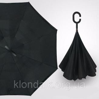 Черный зонт-трость Up-Brella, антидождь, зонт наоборот с двойным куполом., фото №8