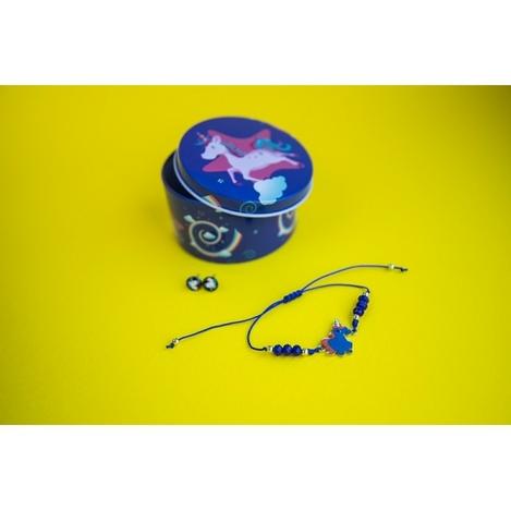 Браслет с кулоном Единорог в комплекте с серьгами-гвоздиками E&D 9738ED синий