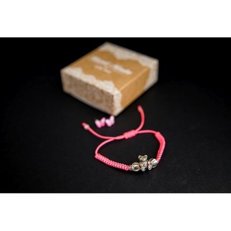Браслет с кулоном Мишка Тедди в комплекте с серьгами-гвоздиками E&D 9731ED розовый