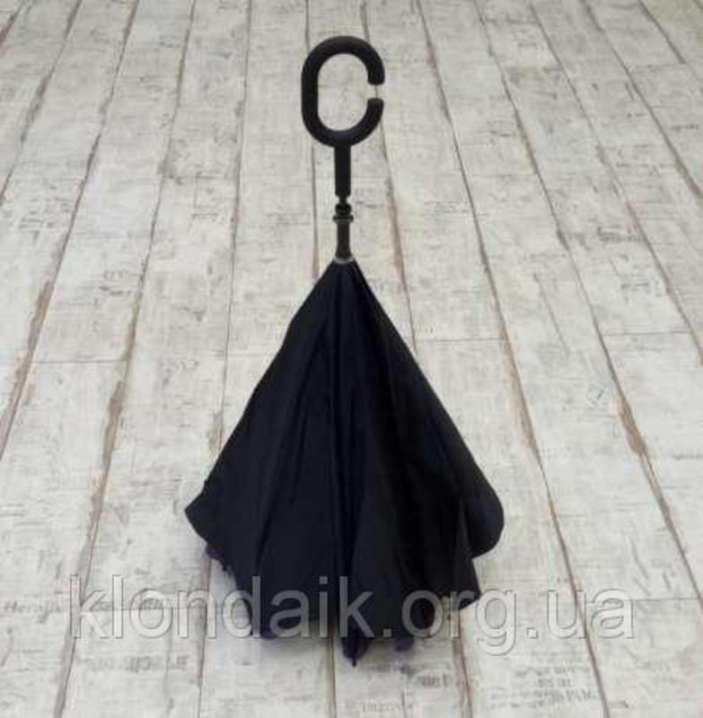 Черный зонт-трость Up-Brella, антидождь, зонт наоборот с двойным куполом., фото №5