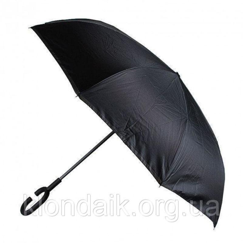 Черный зонт-трость Up-Brella, антидождь, зонт наоборот с двойным куполом., фото №6