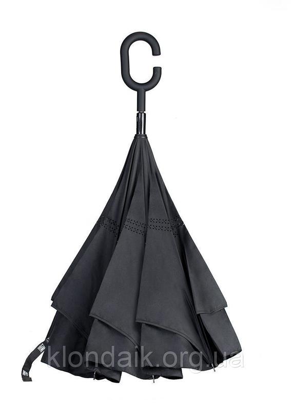 Черный зонт-трость Up-Brella, антидождь, зонт наоборот с двойным куполом., фото №7