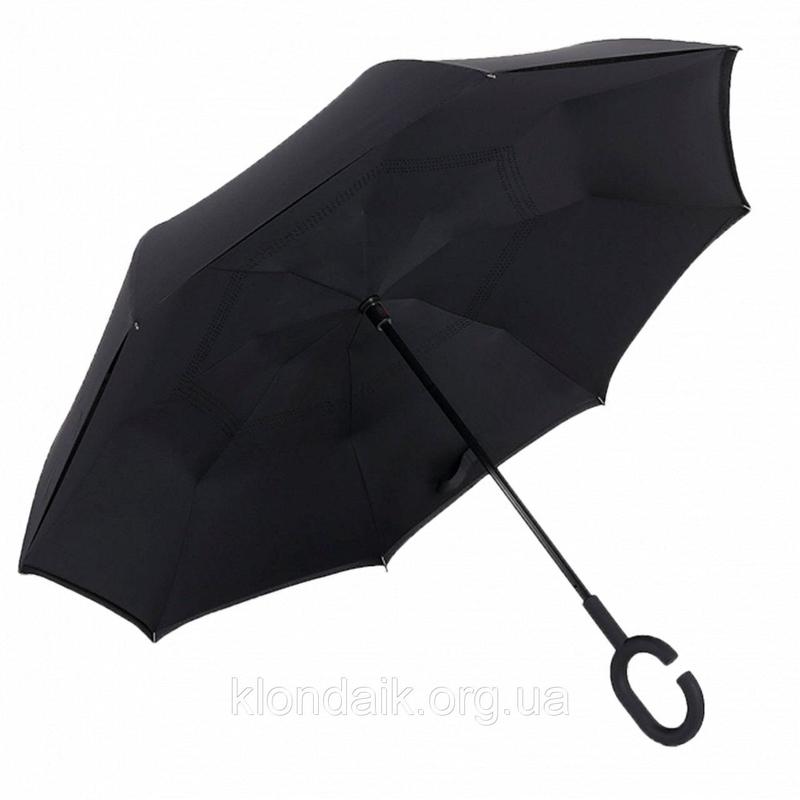 Черный зонт-трость Up-Brella, антидождь, зонт наоборот с двойным куполом., фото №9