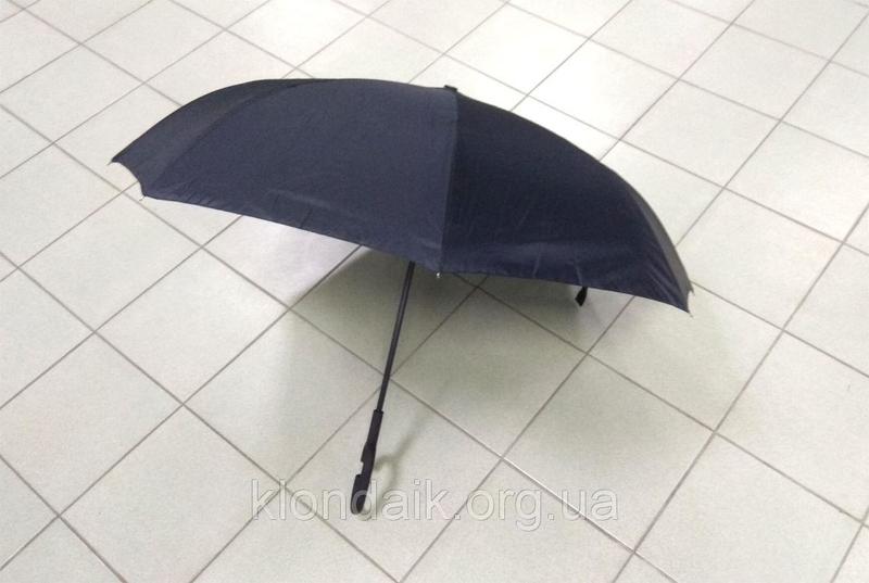 Черный зонт-трость Up-Brella, антидождь, зонт наоборот с двойным куполом., фото №10