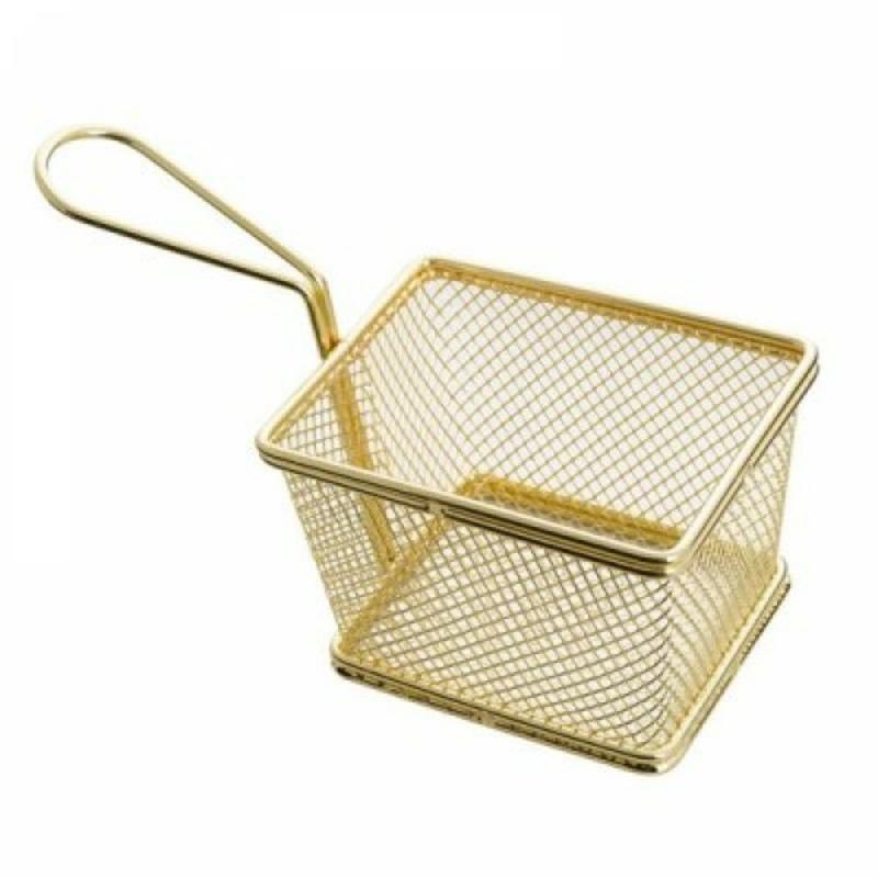 Фритюрница нержавеющая прямоугольная для сервировки золотого цвета 102*72*74 мм (шт) Империя Посуды EMP_6391